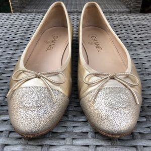 CHANEL Gold & Champagne Lambskin Ballerina Shoes